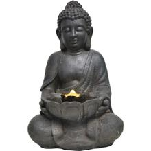 See Details - Hanover 18-In. Buddha Statue Indoor or Outdoor Garden Fountain with LED Lights for Patio, Deck, Porch, HAN021BUDDHA-01