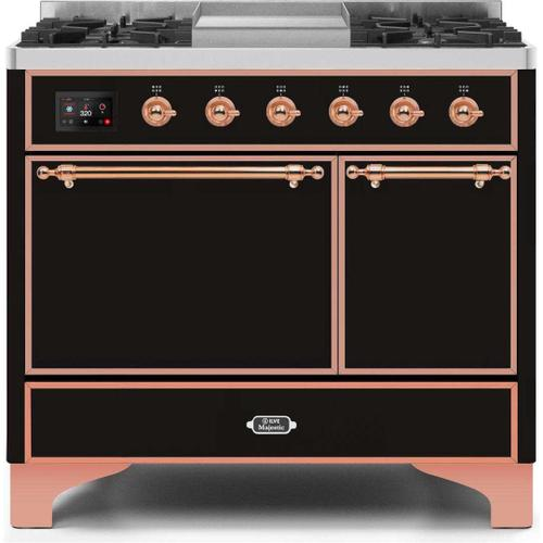 Ilve - Majestic II 40 Inch Dual Fuel Natural Gas Freestanding Range in Glossy Black with Copper Trim
