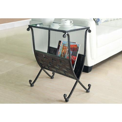 Gallery - ACCENT TABLE - BLACK / TAUPE MIX METAL W/ TEMPERED GLASS