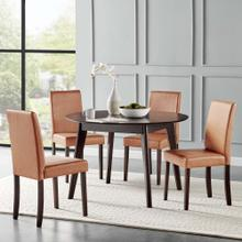 Prosper 5 Piece Faux Leather Dining Set in Cappuccino Tan