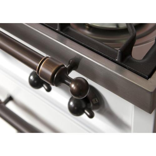 Nostalgie 30 Inch Gas Liquid Propane Freestanding Range in Antique White with Bronze Trim