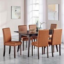Prosper 7 Piece Faux Leather Dining Set in Cappuccino Tan