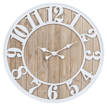 Natural Wood Wall Clock with White Enamel Numbers