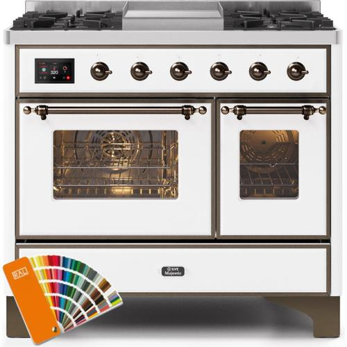 Majestic II 40 Inch Dual Fuel Natural Gas Freestanding Range in Custom RAL Color with Bronze Trim