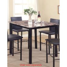 Citico Metal Counter Height Dining Table with Laminated Faux Marble Top, Black