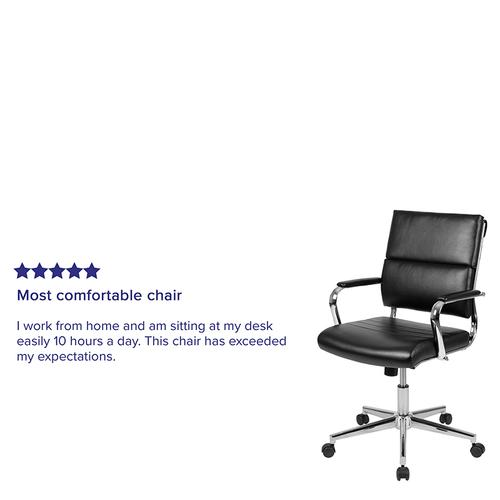 Gallery - Mid-Back Black LeatherSoft Contemporary Panel Executive Swivel Office Chair
