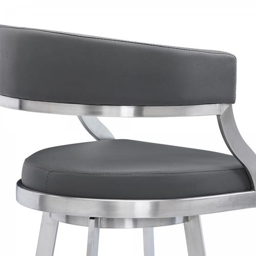 """Saturn Contemporary 30"""" Bar Height Barstool in Brushed Stainless Steel Finish and Grey Faux Leather"""