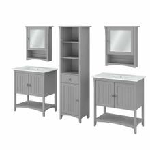 See Details - 64W Double Vanity Set with Sinks, Medicine Cabinets and Linen Tower, Cape Cod Gray