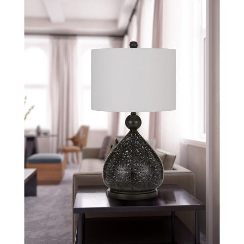 Milton Laser Cut Metal Table Lamp With Drum Shade