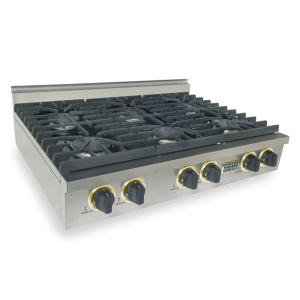 "Five Star36"" Six Burner Gas Cooktop, Sealed Burners, Stainless Steel with Brass"