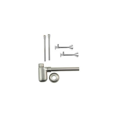 "Lavatory Supply Kit w/ Decorative Trap - Sweat - Oval Handle - 1/2"" Copper Sweat Inlet x 3/8"" O.D. Compression Outlet - Antique Brass"