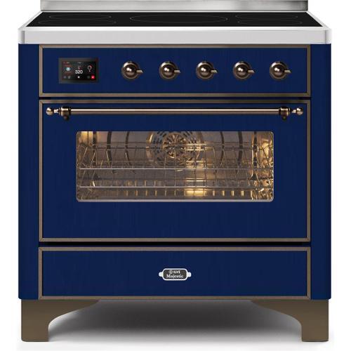 Majestic II 36 Inch Electric Freestanding Range in Blue with Bronze Trim