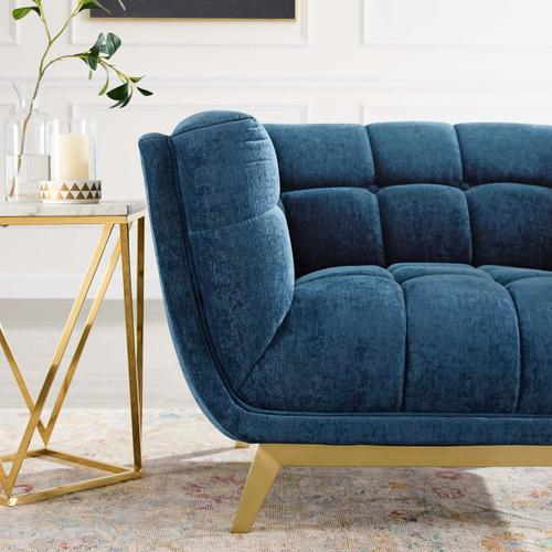 Bestow Crushed Performance Velvet Armchair in Navy