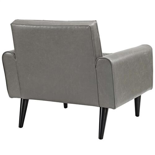 Delve Upholstered Vinyl Accent Chair in Gray
