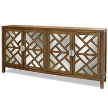 Product Image - GRANTHAM SIDEBOARD  Walnut Finish on Hardwood with Plain Finish Beveled Mirror  4 Door