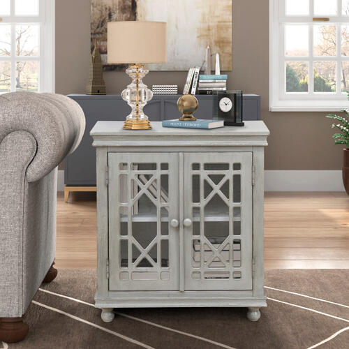 Two Door Lattice Accent Chest in Weathered Grey