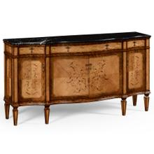 Satinwood serpentine sideboard with floral inlay