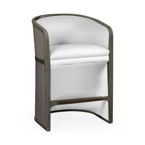 Grey & Dark Grey Rattan Tub Counter Stool, Upholstered in COM