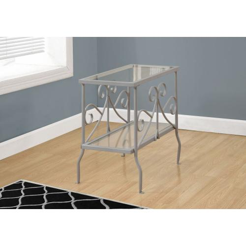 Gallery - ACCENT TABLE - SILVER METAL WITH TEMPERED GLASS
