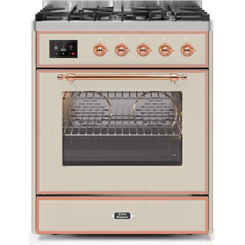 Ilve - Majestic II 30 Inch Dual Fuel Natural Gas Freestanding Range in Antique White with Copper Trim