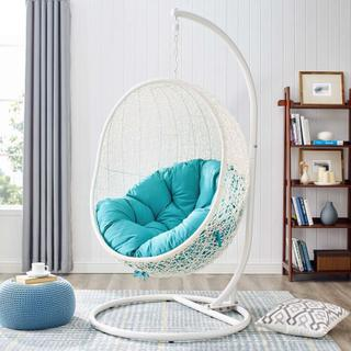 Hide Outdoor Patio Swing Chair With Stand in White Turquoise