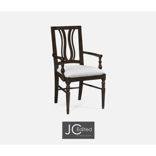 Dark Ale Curved Back Dining Armchair, Upholstered in COM