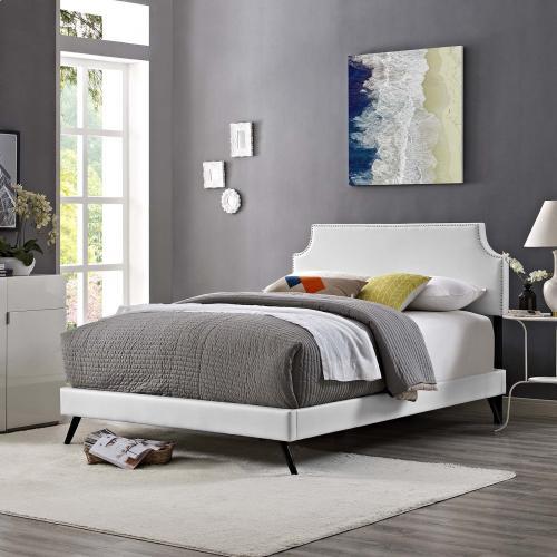 Corene King Vinyl Platform Bed with Round Splayed Legs in White