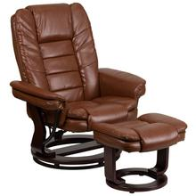 Contemporary Multi-Position Recliner with Horizontal Stitching and Ottoman with Swivel Mahogany Wood Base in Brown Vintage LeatherSoft