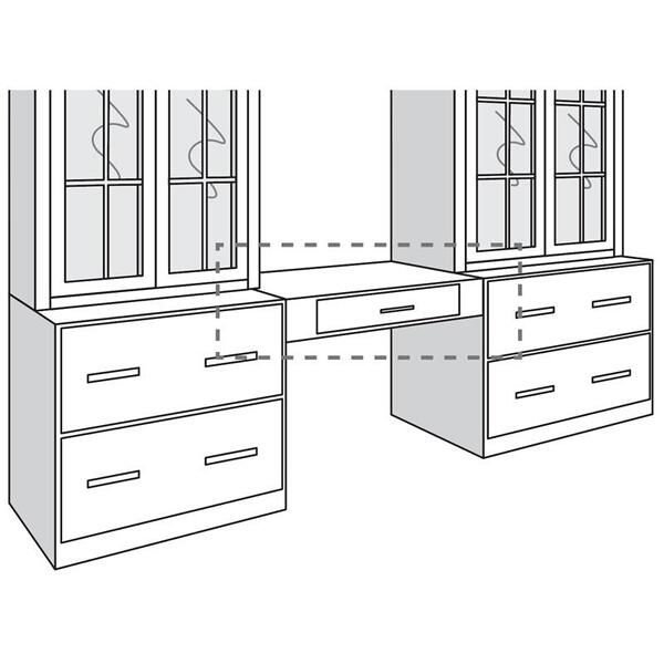"""See Details - Variable Bridge Base Unit with Convertible Drawer, 30""""w """" 42""""w"""