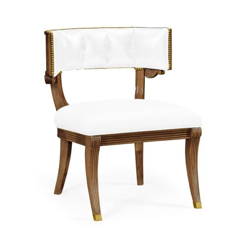 Klismos French Walnut Dining Chair, Upholstered in COM by Distributor