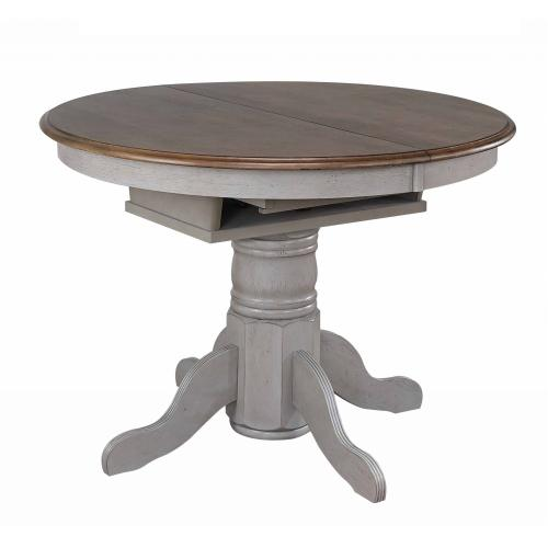 Round or Oval Extendable Dining Table - Distressed Gray & Brown