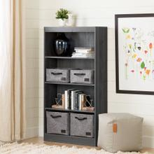 4-Shelf Bookcase - Gray Oak