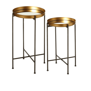159365 In By Ganz Midwest Cbk In Manhattan Ks Antique Gold Mirrored Tray Side Table 2 Pc Set