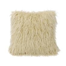 View Product - Mongolian Faux Fur Throw Pillow, 6 Colors, 18x18 - Cream