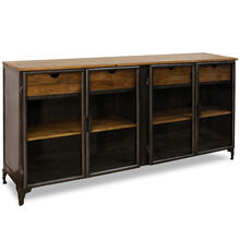 GRAPHITE IRON & SOLID MANGO  35ht X 70w X 16d  Four Door Sideboard with Four Drawers & Four Shelve