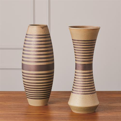 Banded Bowed Vase-Tarnish