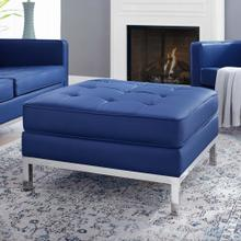 Loft Tufted Upholstered Faux Leather Ottoman in Silver Navy