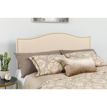 See Details - Lexington Upholstered Queen Size Headboard with Accent Nail Trim in Beige Fabric