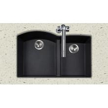 Quartztone P-175U Midnite Undermount 60/40 Double Bowl Midnite