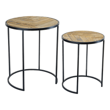 See Details - Reclaimed Wood Triangle Inlay Round Nested Table (Each One Will Vary) (2 pc. set)