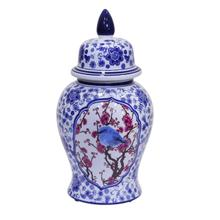 Blue/white Bird Temple Jar 18""