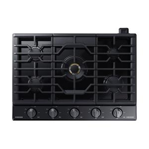 """Samsung30"""" Chef Collection Gas Cooktop with 22K BTU Dual Power Burner in Matte Black Stainless Steel"""