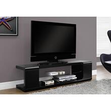 """See Details - TV STAND - 60""""L / HIGH GLOSSY BLACK WITH TEMPERED GLASS"""
