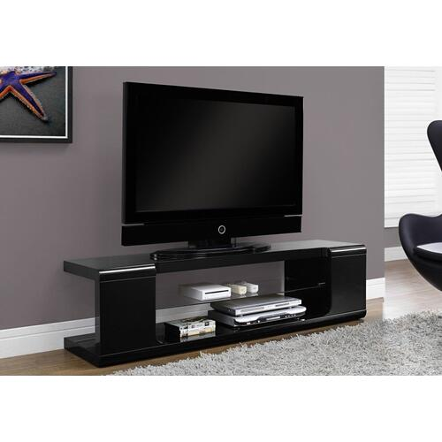 """Gallery - TV STAND - 60""""L / HIGH GLOSSY BLACK WITH TEMPERED GLASS"""
