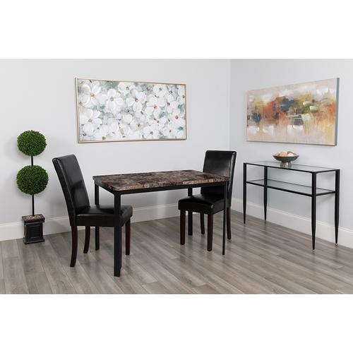 "Avalon 30"" x 45.75"" Rectangular Dining Table in Swirled Marble-Like Finish"