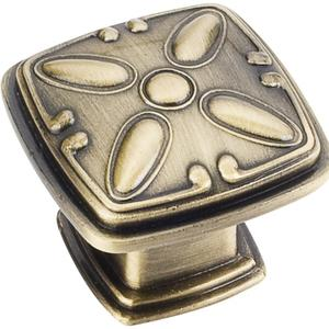 """1-3/16"""" Overall Length Decorated Square Cabinet Knob. Product Image"""