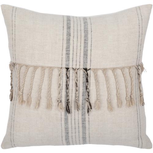 "Surya - Linen Stripe Embellished LSP-003 18""H x 18""W"