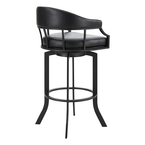 "Edy Swivel 30"" Black Powder Coated and Black Faux Leather Metal Bar Stool"