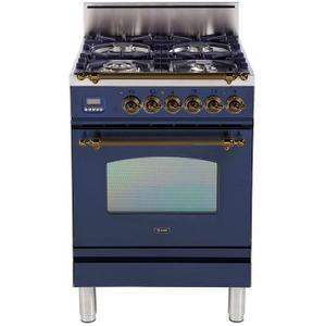 Nostalgie 24 Inch Gas Liquid Propane Freestanding Range in Blue with Bronze Trim