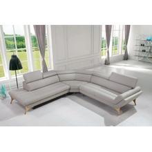 Divani Casa Graphite Modern Grey Leather Sectional Sofa